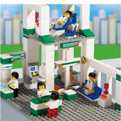 乐高式拼装积木 城市急诊中心医院 小鲁班儿童益智玩具