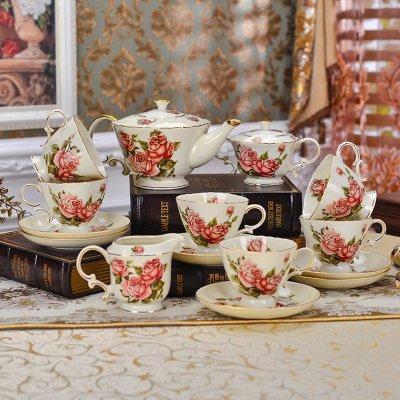 8头贵族情调茶具 咖啡茶具 欧式英式下午茶具套装 陶瓷茶托盘茶壶茶杯图片