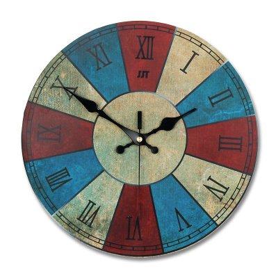 久久达欧式创意复古圆盘静音挂钟 简约时尚个性石英钟表 木质客厅时钟
