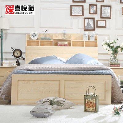 喜悦猫松木家具实木床1.8米双人床1.2米1