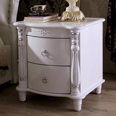 魅影 欧式床头柜 法式床头柜 白色田园柜子 实木床头柜 a35 宽45cm(可