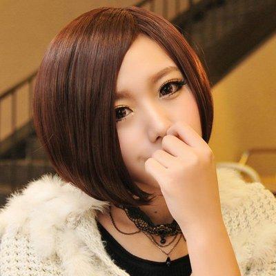 中分斜分短发女生短发帅气时尚非主流 斜刘海修脸bobo女士短直发短