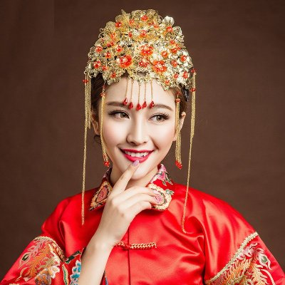 时光叙 新娘头饰复古中国风中式新娘秀禾服头饰古装发饰套装凤冠龙凤