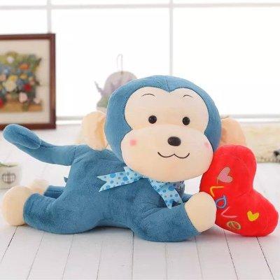 超萌可爱抱心趴猴毛绒玩具爱心小猴子公仔