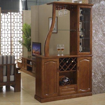 祥融 酒柜 新中式双面间厅柜 实木框架酒柜 时尚间厅柜隔断柜 玄关柜