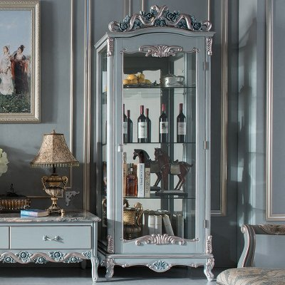 欧式酒柜实木雕花单门酒柜法式客厅装饰柜玻璃酒