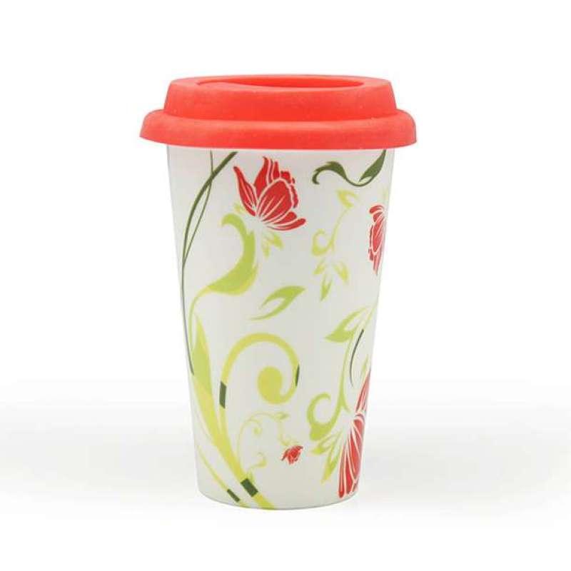 伴家乐外卖咖啡杯红色花朵