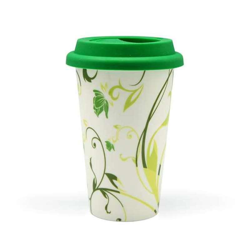 伴家乐外卖咖啡杯绿色花朵