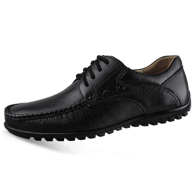 圆头系带坡跟男式商务休闲皮鞋s9892