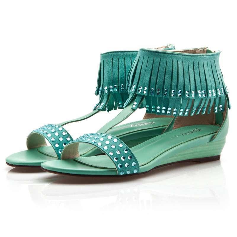 josiny卓诗尼波西米亚水钻流苏平底女款平跟凉鞋