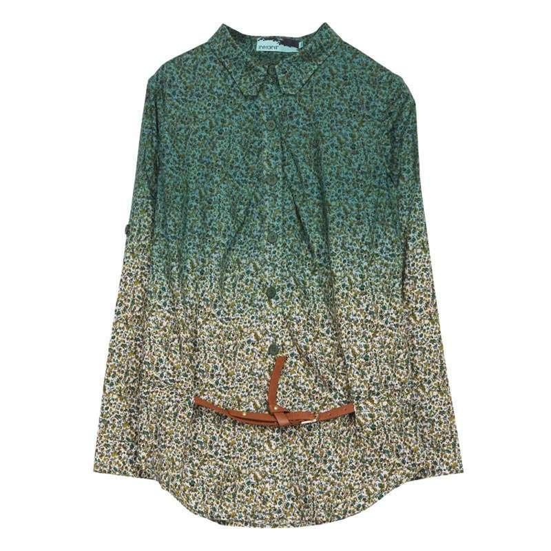 修身女衬衣纯棉碎花长袖衬衫