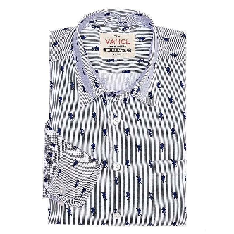 vancl凡客诚品 时尚印花长袖衬衫 花型图案g xxl