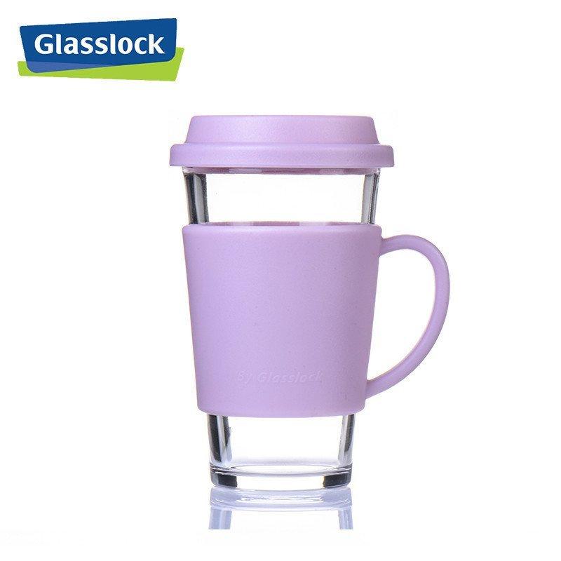 苏宁 三光云彩 Glasslock 带盖钢化耐热 玻璃水杯 含隔热套 380ml  RC107 39包邮