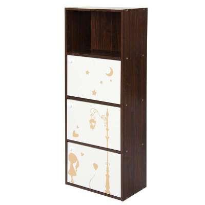 四层三门印花柜胡桃木白色