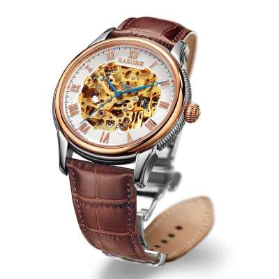 雷诺rarone 全自动机械表经典复古镂空男表 防水男士商务经典腕表