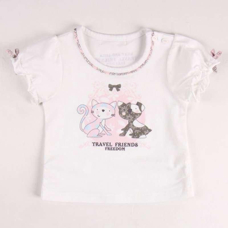 皇家宝贝女童时尚可爱小猫咪短袖t恤322120213白色/90