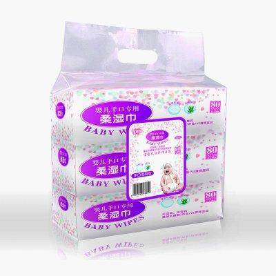 宝维盟 婴儿手口专用柔湿巾 80*3包