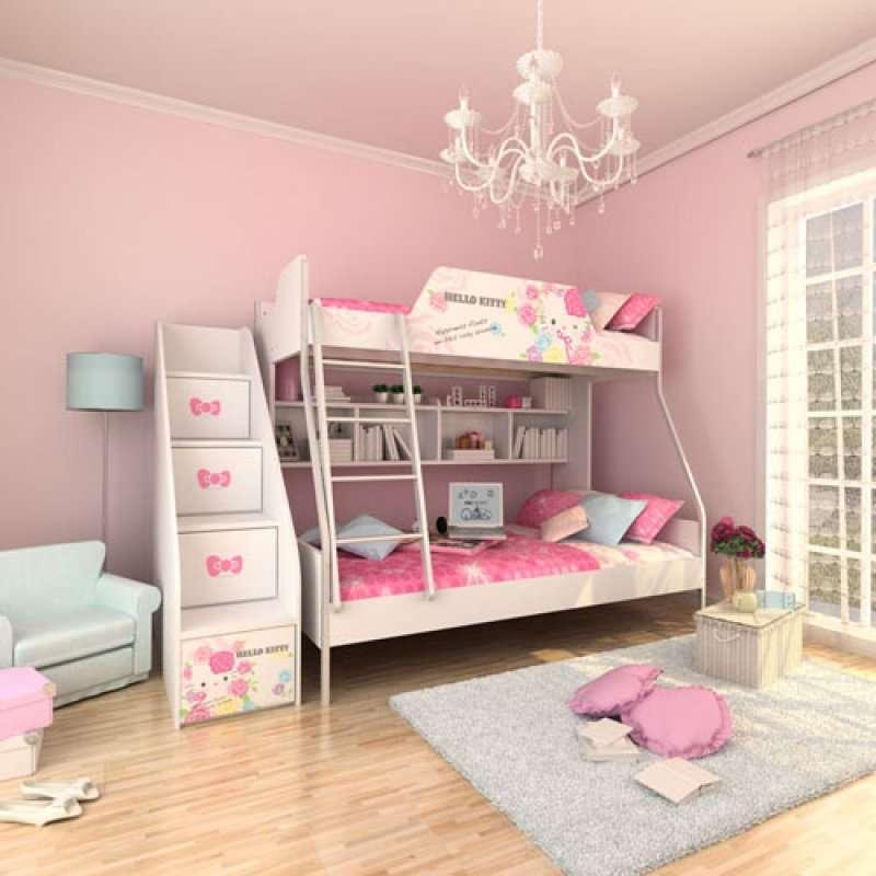 酷漫居儿童家具kt梦幻玫瑰金属架高低床/梯柜