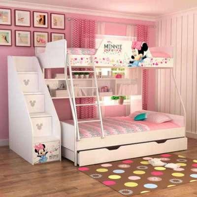 酷漫居儿童家具迪士尼米妮欢乐时光1米5金属架高低床