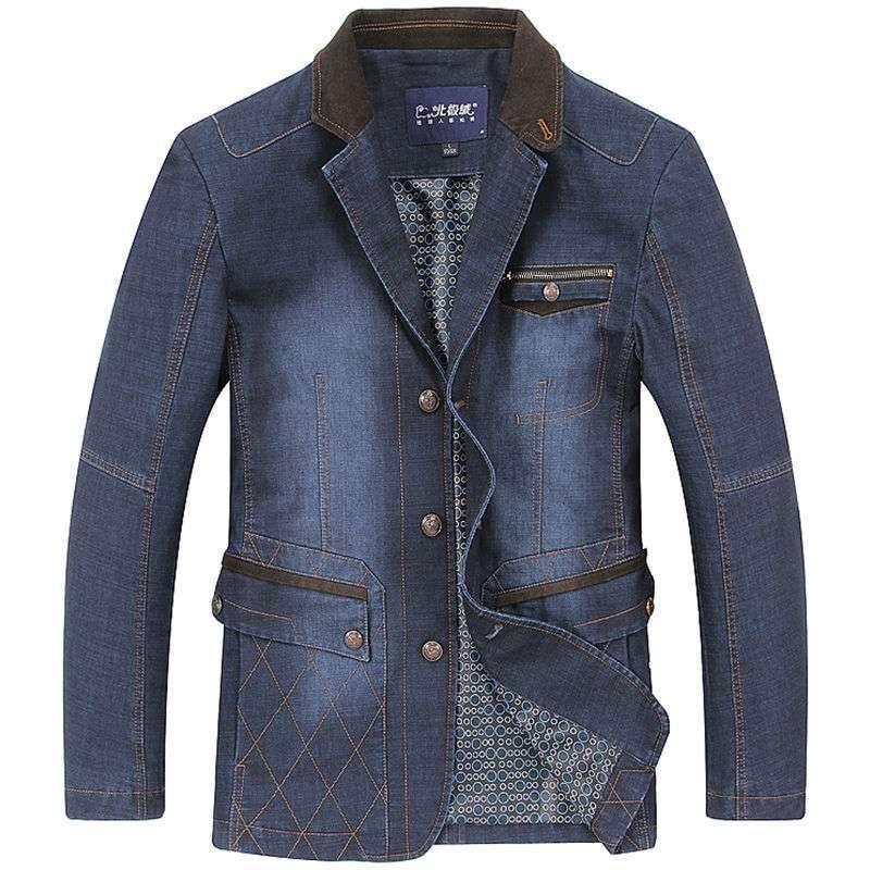 北极绒时尚拼接西装领水磨牛仔男士秋装夹克外套p380图片