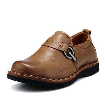 男士真皮厚底休闲皮鞋