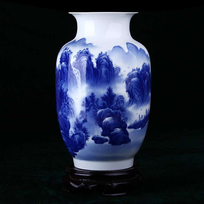 景德镇陶瓷手绘青花瓷花瓶 家居摆件客厅装饰工艺品 特价包邮 wy 3120