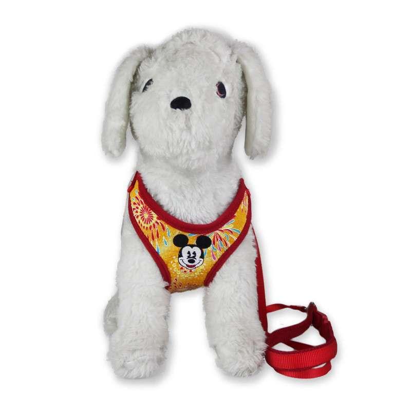 红色卡通图案宠物胸背带 贵宾泰迪狗用牵引绳 狗链猫绳m号 胸围42至70