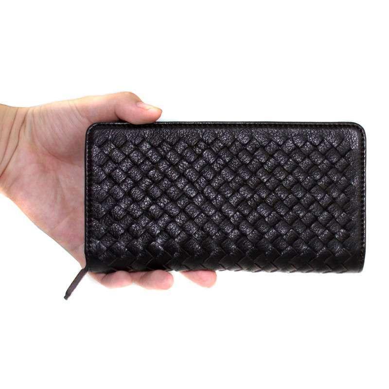 香港品牌fougue枫格头层牛皮编织手包钱包shcf011323 宝石黑
