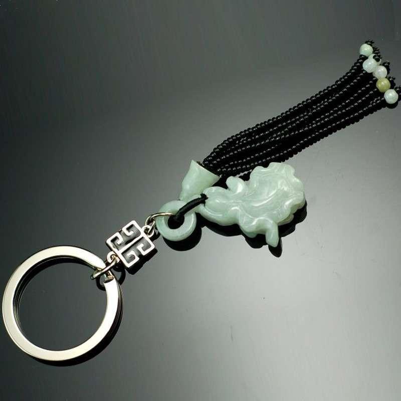 海天堂构-翠玉百财天然翡翠玉精品钥匙扣/汽车钥匙扣/男士创意/钥匙链