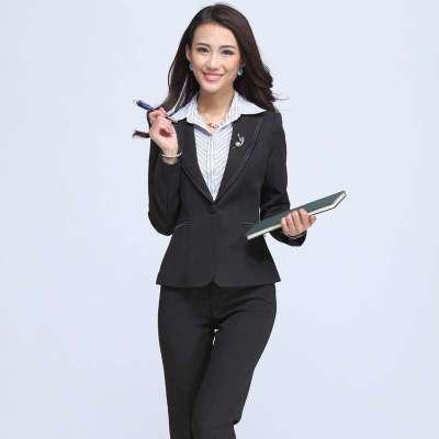 秋冬女装时尚 白领西装套裤工作服 一粒扣正装902K 黑色 M 套装 苏图片