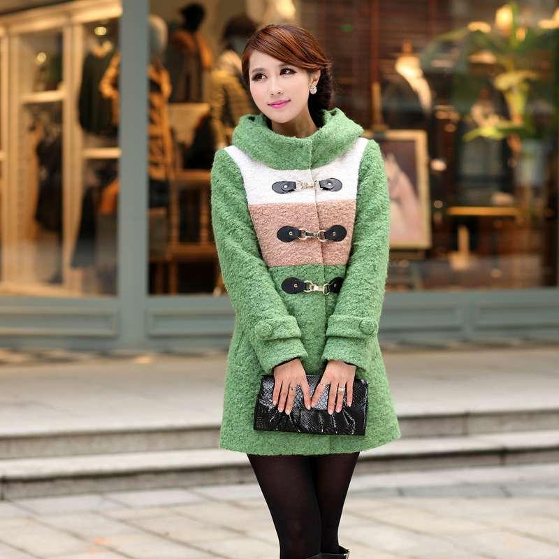 圣加婧羊毛呢子大衣女休闲绿色大衣毛呢外套d129068
