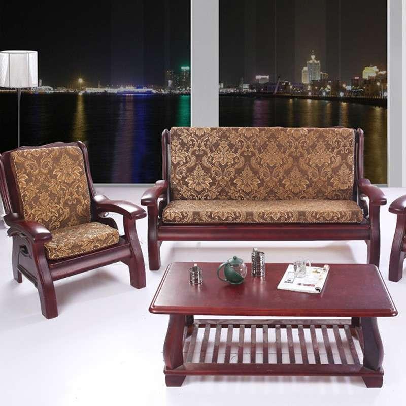三只松鼠 实木沙发垫 海绵沙发垫 雪尼尔沙发垫子 170x50cm