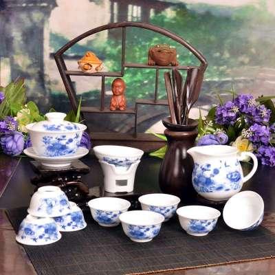 景德镇瓷器 高档茶杯 12头吉祥花套组价格比较 景德镇陶瓷茶具