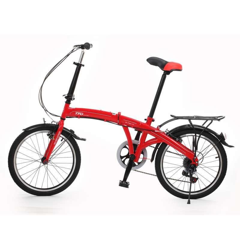 中性国旗红色20寸双折6速V刹自行车