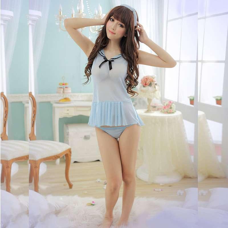 情趣内衣蓝色v蓝色a蓝色学生妹透视丝质小吊裙y045性感微博情趣内衣图片