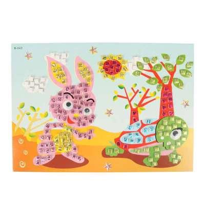 大贸商 3d马赛克立体贴画 卡通手工制作 只售龟兔赛跑款图
