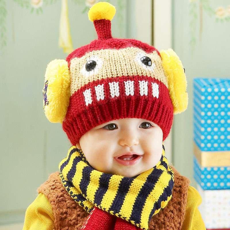 公主妈妈冬款儿童帽机器人造型宝宝毛线帽子围脖