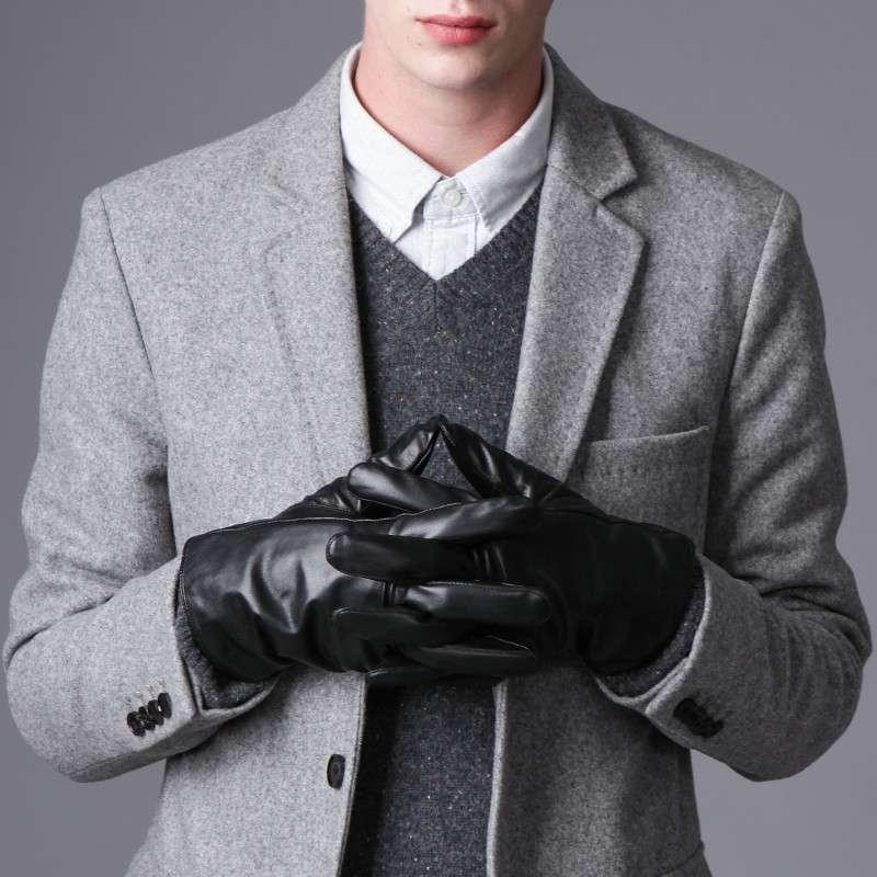 乐为触屏手套男士冬季羊皮手套保暖开车手套真皮防寒防风骑车手套 l1