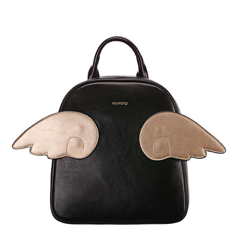 【小象包袋】2014新款韩版可爱翅膀撞色手提双肩包包