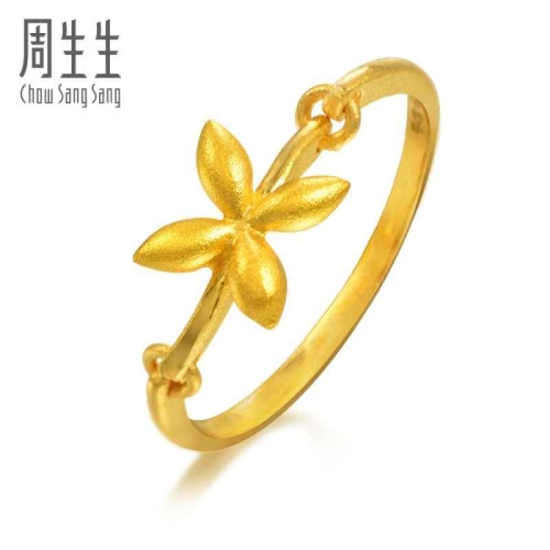 周生生 黄金(足金)橄榄花戒指 真人秀15910r(计价)