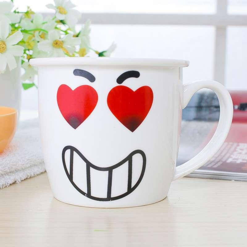 可爱时尚表情陶瓷杯子卡通杯马克杯具早餐牛奶杯奶茶咖啡杯 白色