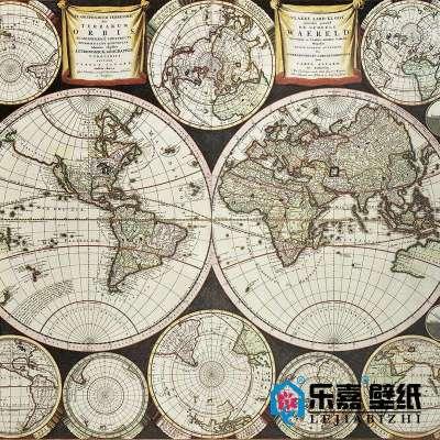 复古世界地图m523-1定制墙纸