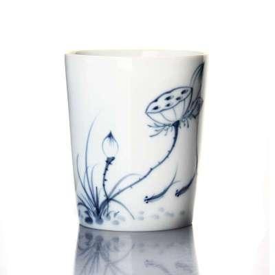 手绘茶杯青花瓷品茗杯子