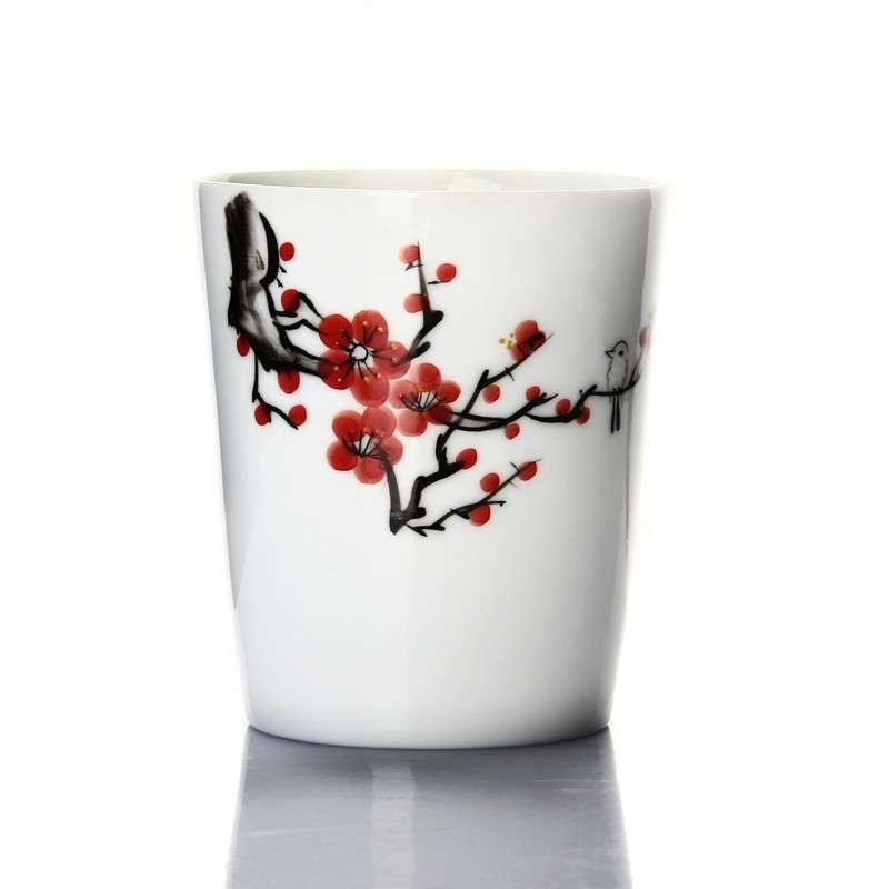 郑品 手绘茶杯青花瓷品茗杯子 品茗杯功夫茶杯 荷花大