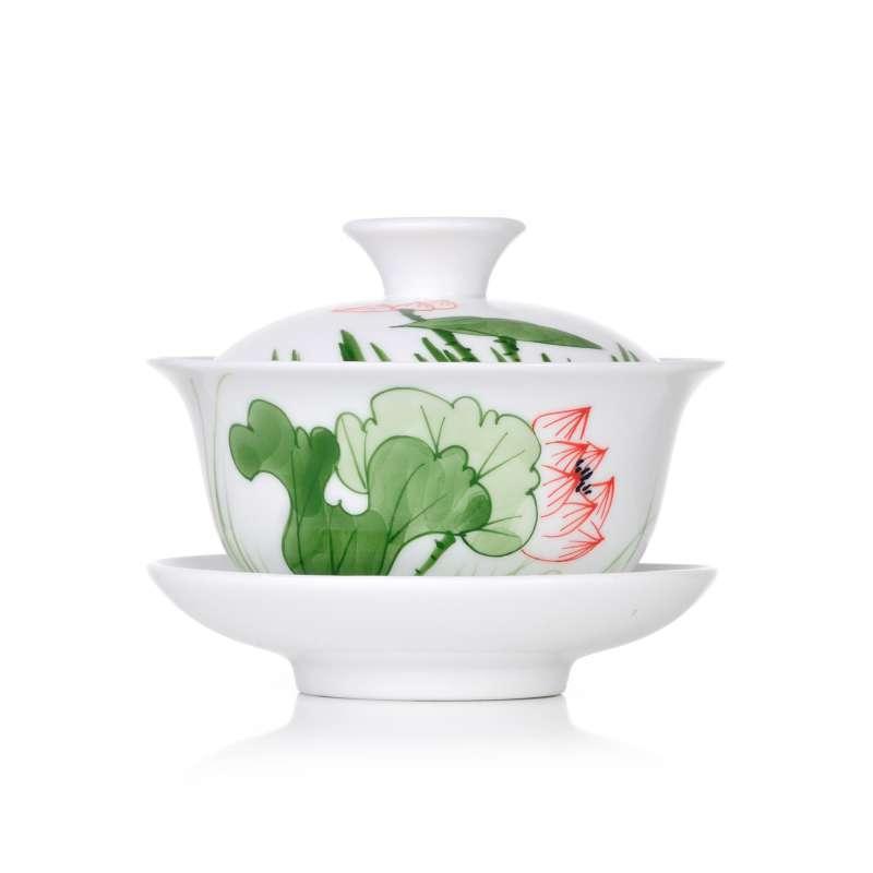 左茗右器 景德镇手绘青花瓷盖碗粉彩陶瓷茶杯三才碗白瓷功夫茶具