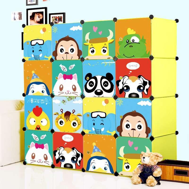 蔻丝卡通儿童简易衣柜 宝宝婴儿小孩衣柜子 宜家组合塑料衣橱包邮