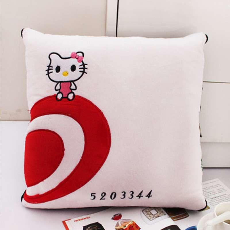 欧莱缦 多功能卡通可爱靠垫被沙发靠枕被创意抱枕被两用抱枕 白猫 105