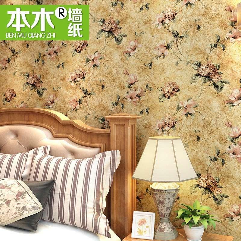 【本木家居】s本木美式乡村复古无纺布壁纸欧式古典