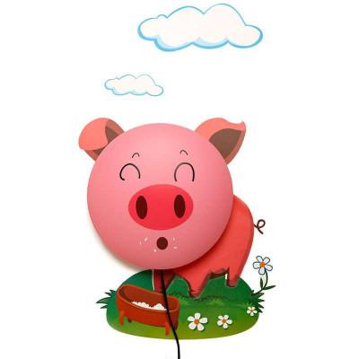 墙纸壁灯超萌粉红猪 卡通创意装饰3d墙贴壁纸灯超萌
