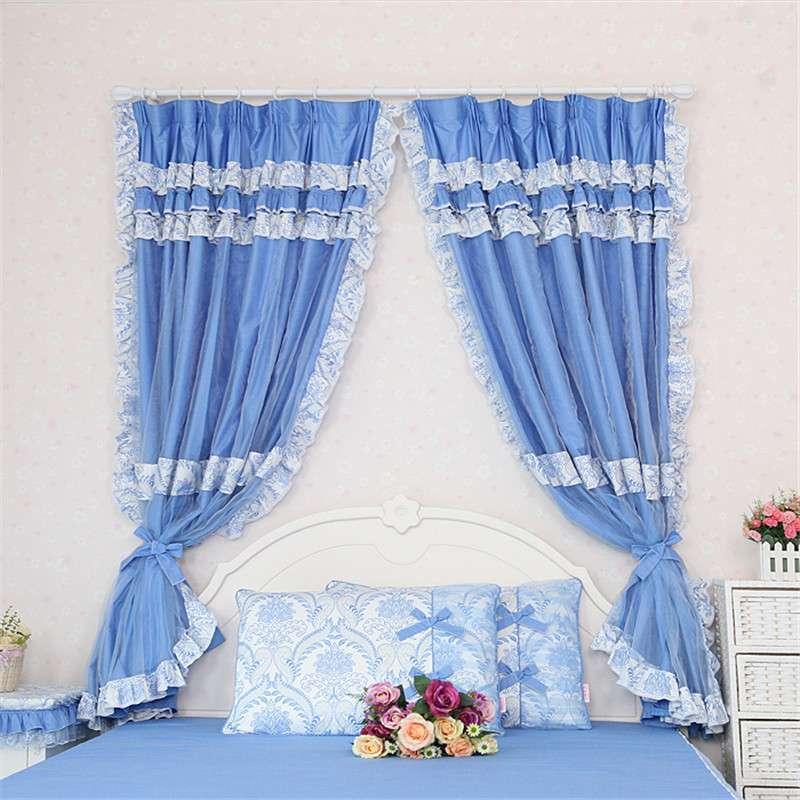 半遮光全棉布艺地中海蓝色窗帘成品加纱